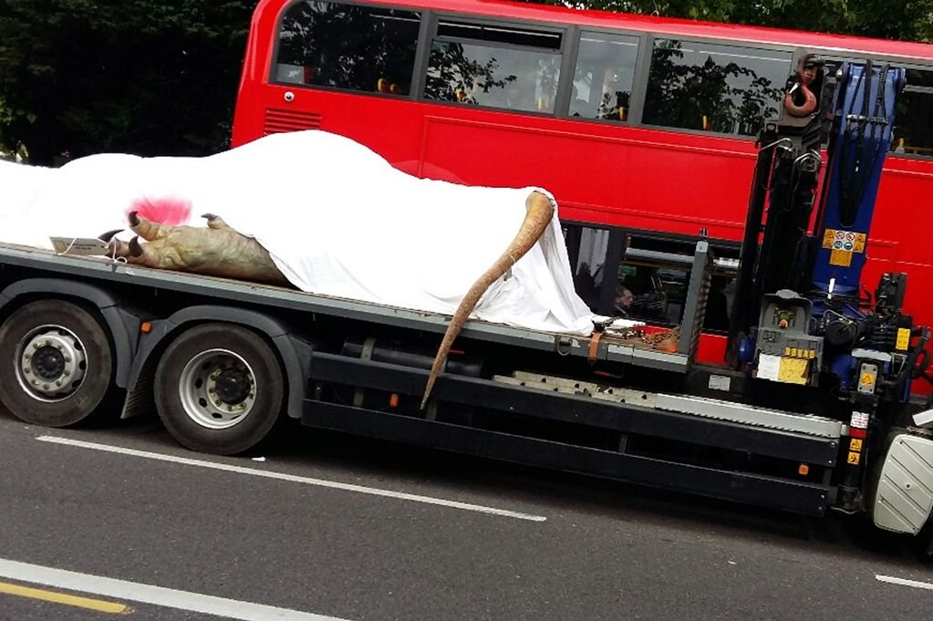 Dead T-Rex Transported Through London