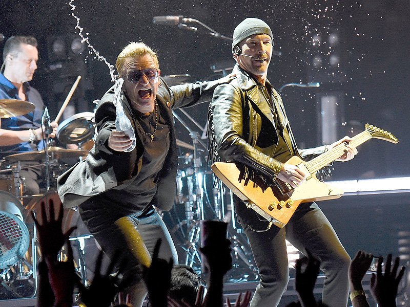 U2's The Edge Accidentally Walks Off The Edge Of A Stage