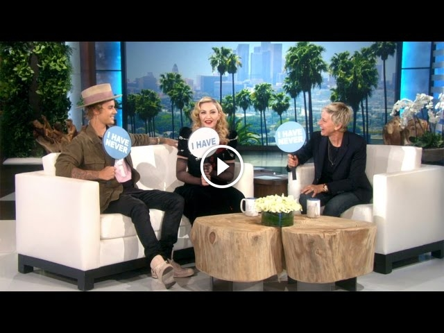 Madonna and Justin Bieber Play Never Have I Ever On The Ellen Show